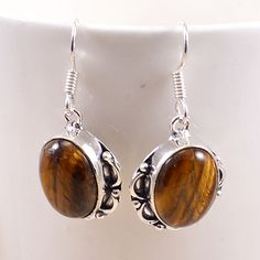 PG 21679 Tiger Eye Gems Silver Plated Women Earring Exclusive Gift Jewelry  #SilvestoIndia #Earring