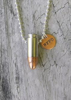 Police, Sheriff, Deputy, Highway Patrol, Law Enforcement Customized Bullet Jewelry Necklace, 9 mm/45 Caliber Bullet on  Ball Chain