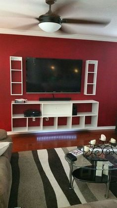 Wall Mounted Plywood Entertainment Center : 7 Steps (with Pictures) - Instructables Wall Mount Entertainment Center, Home Entertainment Centers, Diy Entertainment Center, Living Room Tv, Metal Homes, Contemporary Bathrooms, Kit Homes, Diy Furniture, Furniture Layout