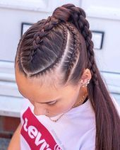 20 Tresses Coiffure Et Quiffed Ponytail Hairstyle Ideas 8 - Braid Hairstyle De. Braided Ponytail Hairstyles, Weave Hairstyles, Pretty Hairstyles, Hairstyle Ideas, Braided Locs, Dreadlock Hairstyles, Hair Ideas, Medium Hair Styles, Long Hairstyles