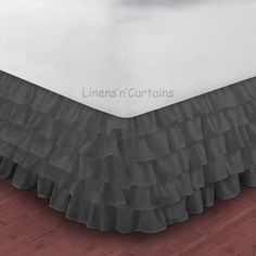 CARBON GREY Ruffle Layered Bed Skirt 1200TC Egyptian Cotton in all Drop Lengths on Etsy, $69.50