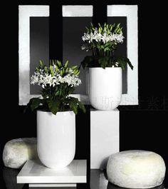 h35国外大型花器酒店大堂摆设花艺图片软...