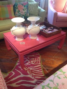 High Point Market Spring 2012-Lilly Pulitzer Pink Lacquer Cocktail Table...wow!