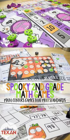 I love these ideas for Second Grade math centers that are hands on Halloween fun! These games are perfect for small groups, early finishers, or work stations!