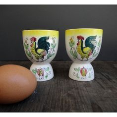 Which Came First Egg Cups - Set of 2 - Rooster op Etsy, 10,84 €