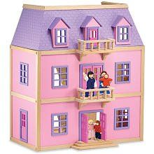 Melissa & Doug Multi-Level Solid Wood Dollhouse w/ Family of 5 Dolls by Melissa & Doug, LLC (Import) - new import code: MELS7. $128.64. Materials carefully crafted for years of pretend play!. Exceptional quality and value. Includes 19 pieces of hand-painted wooden furniture with working doors and drawers. Fully furnished wooden dollhouse comes with five spacious rooms, two movable staircases and five working exterior doors. Amazon.com                With its all-wood const...
