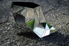 INVISIBLE SHOE // ANDREIA CHAVES    ART / FOOTWEAR / METALLIC / PRISM / PRISMATIC / REFLECTION / SCULPTURE / SHOE / SILVER / TRIANGULAR    8/1/11