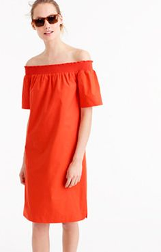 Off-the-shoulder dress in cotton poplin : Women day   J.Crew