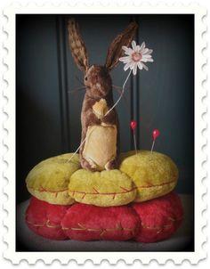 Primitive Folk Art Little Bunny Pinkeep Pattern Easter Rabbit Pincushion | eBay