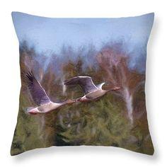 Throw pillow Artistic painterly geese flight 2,