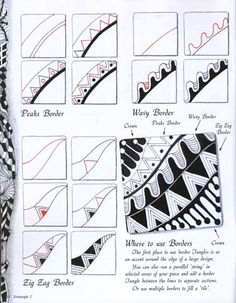 """how to...give it a try in a 3"""" by 3""""square, fine line black micron pen Zig Zag steps, ZigZag Zig-Zag Border Zig Zag Border"""