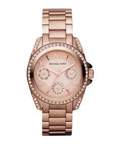Michael Kors Mini-Size Blair Multi-Function Glitz Watch, Rose Golden