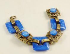 Czech Deco Nouveau Star Sapphire Glass Brass Bracelet - Vintage Lane Jewelry - 1
