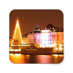 Stockholm Sweden at Christmas at night Square Sticker - christmas stickers xmas eve custom holiday merry christmas