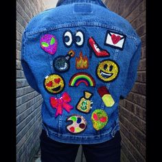 Emoji kawaii sequin patches for custom denim by KingSophiesWorld