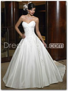 A-line/Princess Sweetheart Chapel Train Wedding Dress for  Brides (WED1063), love love love this dress!