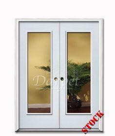 1 Lite Clear Glass Steel Exterior Double Door 6-8 | Darpet Interior Doors for