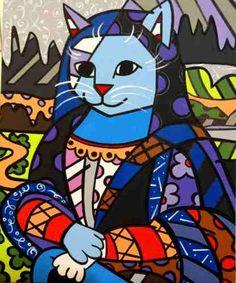 Quadro Tela - Painel Mona Cat - Romero Britto - R$ 405,00 no MercadoLivre