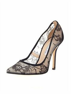 """BRIDGET, $695.00  Oscar's love for lace is beautifully brought to life in these Bridget pointy-toe pumps with black Chantilly lace. Perfect for cocktail parties, holiday gatherings and elegant affairs, these shoes look especially luxe with bare legs. Crafted in Italy by master artisans using the finest Chantilly lace.  • 4"""" heel  • Chantilly lace with satin trim  • Fits a half size big  • Italian sizing  • Made in Italy"""