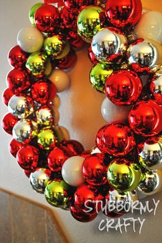 Ornament Wreath, Christmas DIY Wreath, Holiday Decorations