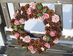 Pine Cone Wreath, Some Painted, With Silk Roses.  Door Wreath, Wall Decor, Valentine, Mother's Day, Wedding, Gifts. www.etsy.com/shop/NaturesCraftSupply