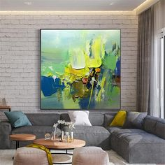 Original acrylic Abstract paintings on canvas wall art pictures for living room home wall decor green blue thick texture quadros decoracion Images D'art, Art Mur, Oil Painting Texture, Photo D Art, Palette Knife Painting, Extra Large Wall Art, Yellow Painting, Wall Art Pictures, Canvas Wall Art