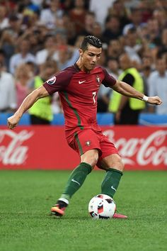 #EURO2016 Portugal's forward Cristiano Ronaldo shoots and scores the first in a penalty shootout during the Euro 2016 quarterfinal football match between...