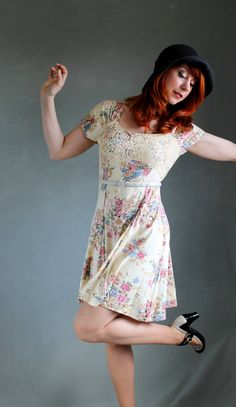 Beige Pink Floral Dress Boho Spring Lace Fashion by gogovintage, $42.00
