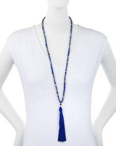 Y35JY Panacea Long Lapis Beaded Tassel Pendant Necklace