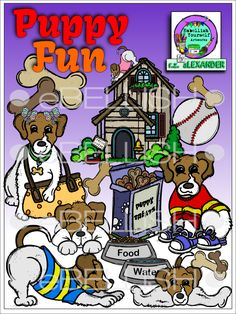 Cute puppies clipart ready to be adopted with misc. elements and a puppy condo. All are hand drawn & created by rz aLEXANDER, eMBELLISH yOURSELF aRTWORKS!