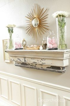 Fireplace mantle used a shelf, decorate seasonally! I don't have a fireplace so I love this! Living Room Update, Home Living Room, Living Room Furniture, Living Room Decor Inspiration, Decorating Your Home, Holiday Decorating, Decorating Ideas, Decor Ideas, Shabby Chic Furniture
