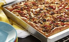 Chicken Sausage, Caramelized Onion and Roasted Red Pepper Focaccia with Wheat Germ Crust