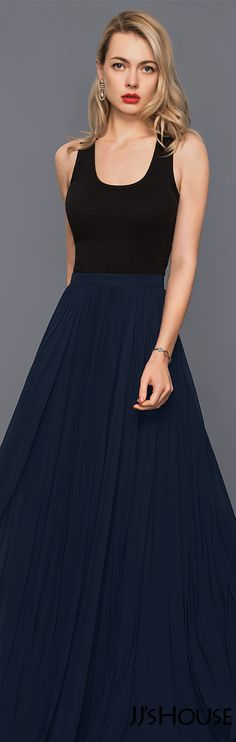 A-Line/Princess Floor-Length Chiffon Cocktail Dress With Pleated#JJsHouse #Cocktail dresses