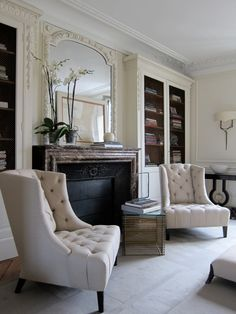 17 Examples Of The Classic Chair Arrangement That Causes Cravings For A Good Book & Hot Toddy is part of Formal Living Room Bookcase - What a cozy vignette! Two comfortable chairs, flanking the fireplace Furniture, Home Living Room, Interior, Home, Formal Living Rooms, Classic Chair, House Interior, Interior Design, Home And Living