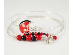 Red & Black Football Charm 3 Band Bracelet Set - $ 6.50  https://www.facebook.com/ItsKarmaBabyJax