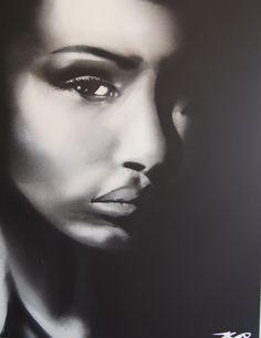 Spay paint portrait for Liquitex demonstration