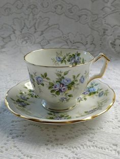 Vintage Aynsley Teacup and Saucer, English Bone China, Marine Rose, Blue Roses, 1950's - 1970's, Made in England, Pattern 2872