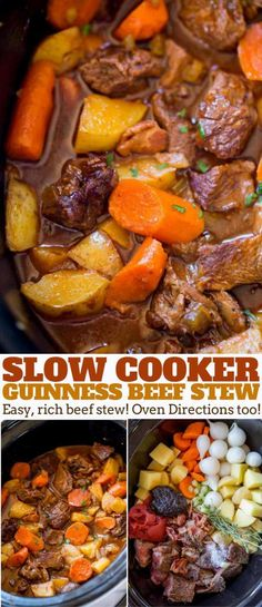 Slow Cooker Guinness Beef Stew with creamy Yukon potatoes, bacon, carrots and a rich tomato beef gravy, this is the perfect winter stew! beef stew Slow Cooker Guinness Beef Stew - Dinner, then Dessert Crock Pot Recipes, Slow Cooker Recipes, Beef Recipes, Cooking Recipes, Slow Cooking, Crockpot Meals, Easy Cooking, Recipies, Vegan Recipes