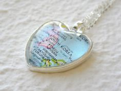 Heart Shaped Map Necklace  South Korea by TheGreenDaisyShop, $20.00