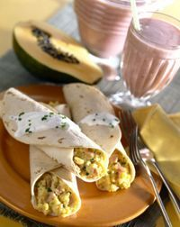 Homemade Freezer Breakfast Burritos . I make these with black beans and chorizo and enchilada sauce.