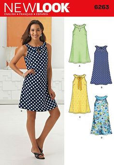 Purchase the New Look 6263 Misses' A- Line Dress sewing pattern and read its. - Best Sewing Tips Easy Sewing Patterns, Clothing Patterns, Sewing Clothes, Diy Clothes, Free Sewing, Sewing Tips, Sewing Hacks, Sewing Tutorials, Fashion Clothes