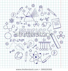 Hand drawn vector set with physics equipment. Can be used fo.- Hand drawn vector set with physics equipment. Can be used for school design. Hand drawn vector set with physics equipment. Can be used for school design. School Notes, I School, Back To School, Happy New Year Text, School Equipment, School Notebooks, Doodle Sketch, School Hacks, Cover Pages