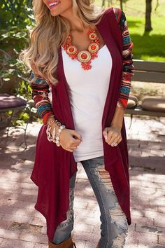 Looks I LOVE! Gorgeous Colors for Fall! Raisin Geo Color Block Printed Long Sleeve Cardigan #Cozy #Fall #Fashion #Cardigan #Color #Trends