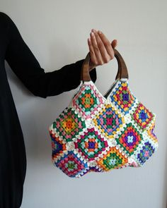 Crochet White Granny Bag