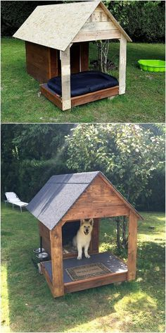 Dog kennel outdoor - Old shipping pallets can be used on useful terms for the creation of the pet house! This pet house is basically defined as the storage box that is large in size where your pet can sit or sleep in a re Pallet Dog House, Dog House Plans, Outside Dogs, Outside Dog Houses, Cool Dog Houses, Amazing Dog Houses, Large Dog House, Dog Yard, Puppy House