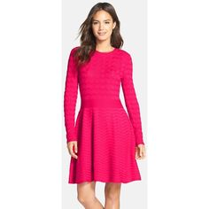 Eliza J Chevron Fit & Flare Sweater Dress ($118) ❤ liked on Polyvore featuring dresses, hot pink, crew neck dress, scalloped hem dress, fit & flare dress, eliza j dresses and hot pink fit and flare dress