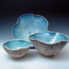 It is so wonderful when our creative LORD God gives people ideas & skills for creating reminders of His Creation... like this beautiful thrown pottery whose outside reminds us of the grains of sand on a beach and turquoise blue interior to these Nature like bowls that remind me of geodes  brings to mind beautiful deep ocean waters... - #DdO:) - https://www.pinterest.com/DianaDeeOsborne/water-of-life/ - WATER OF LIFE.