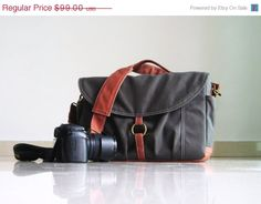 CHRISTMAS SALE Koi in Waxed (Dry) Grey Canvas Camera - Vegan DSLR Bag / Base Strap Padded / Water Resistant Liner Interior / Man / Woman's M