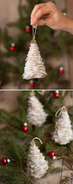 DIY Christmas Ornaments Lots of Ideas & tutorials! Including from 'this heart is mine' these awesome diy felt christmas tree ornaments. Diy Christmas Tree, Christmas Projects, Winter Christmas, Christmas Ideas, Christmas Lights, Christmas Time, Christmas Tree Template, Office Christmas, Christmas Foods