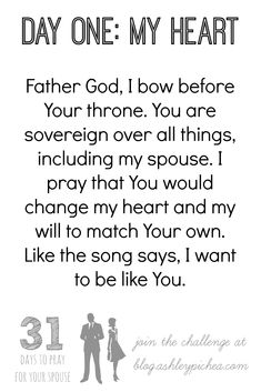 I love this prayer for my spouse from the 31 Days to Pray for Your Spouse Challenge on blog.ashleypichea.com